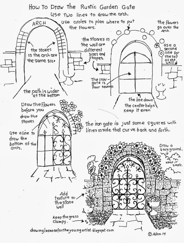 FIND OUT HOW TO DRAW A RUSTIC GARDEN WITH A STONE ARCH