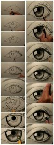 Learn How to draw a human eye from a simple elipse