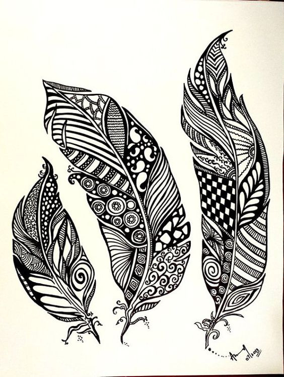 doodling feathers