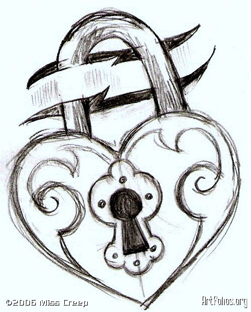 draw a locked heart