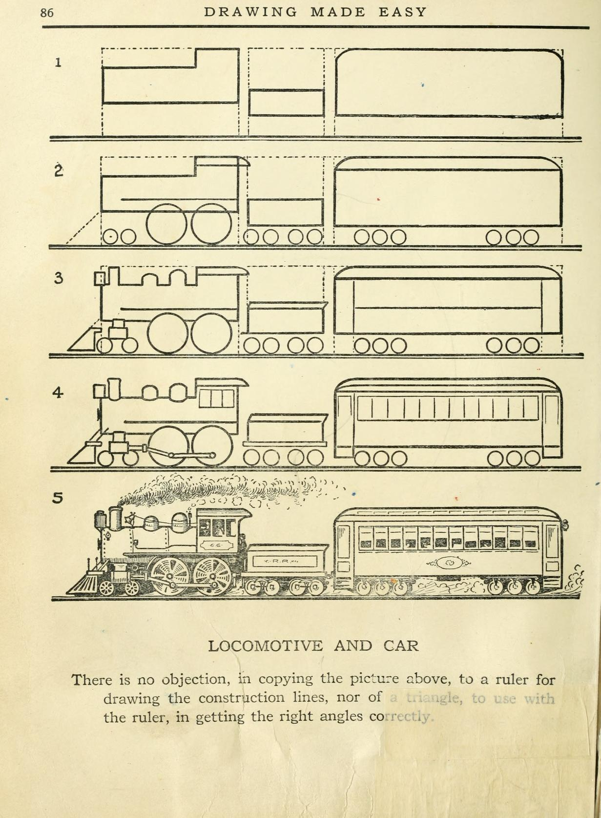 drawing made easy how to draw a locomotive and car