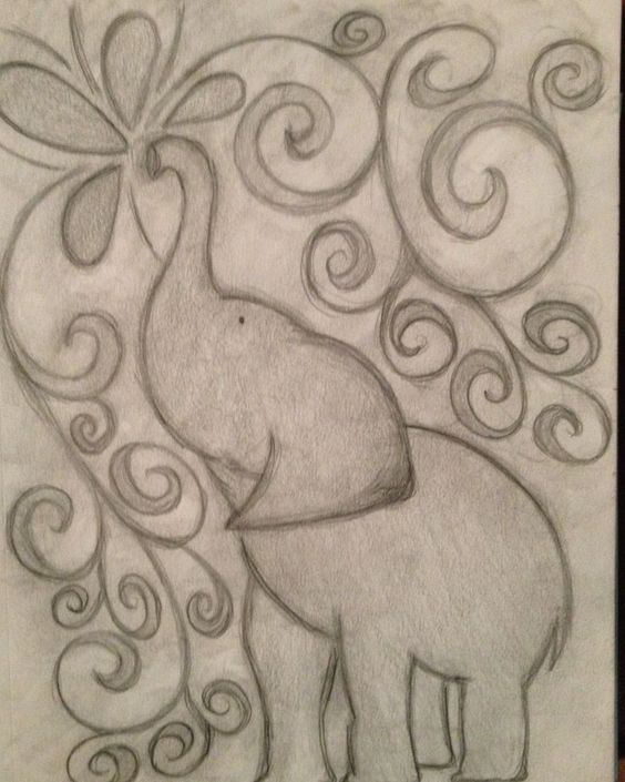 easy elephant drawing to attemp