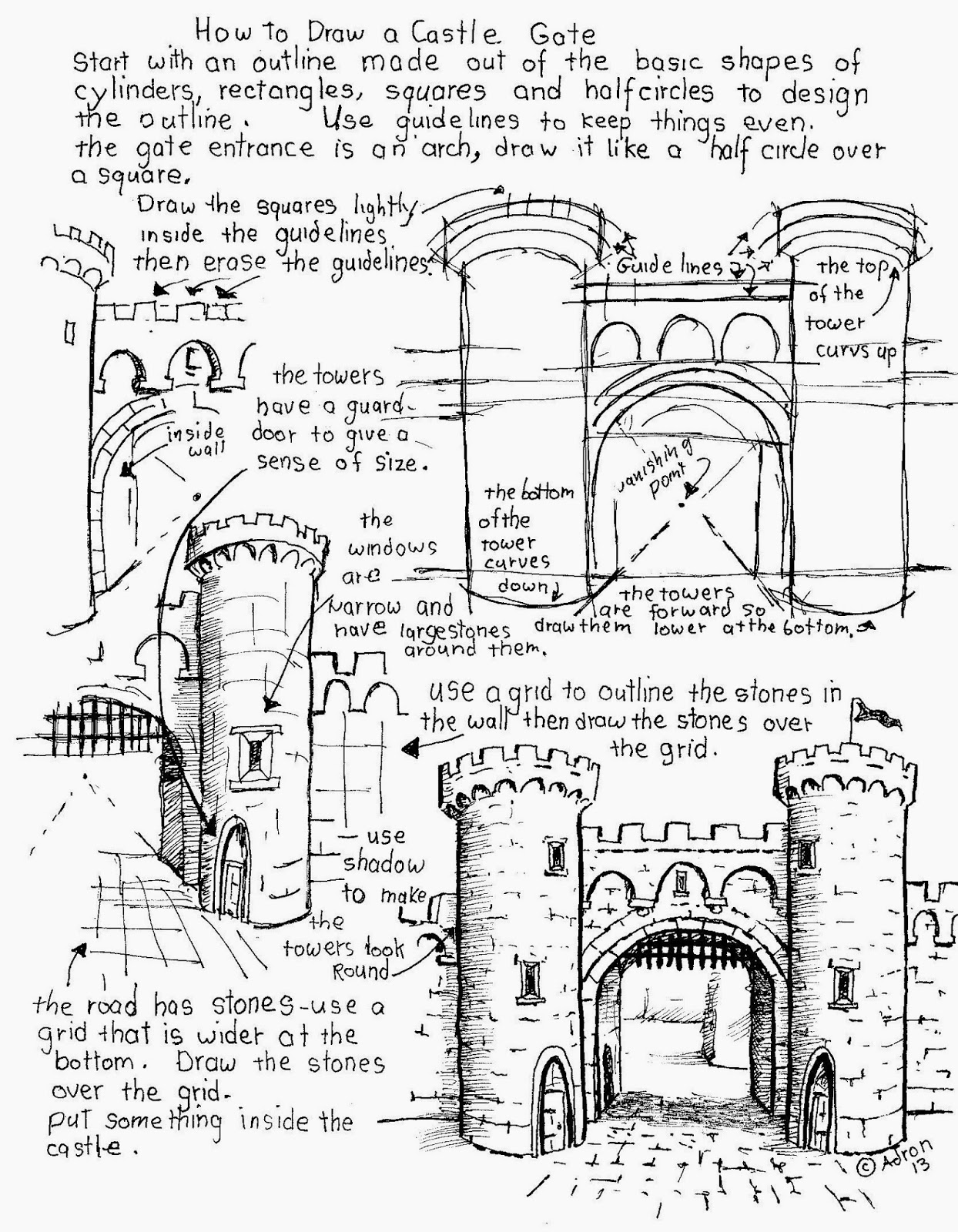 learn how to draw a castle gate