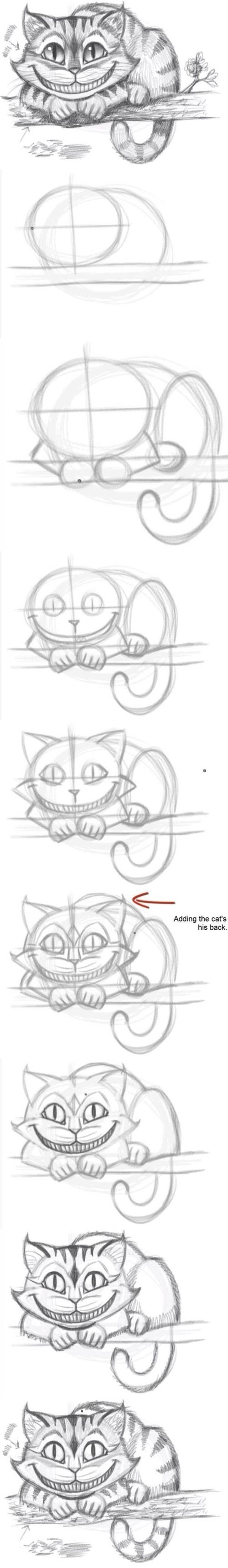 learn how to draw a chestshire cat