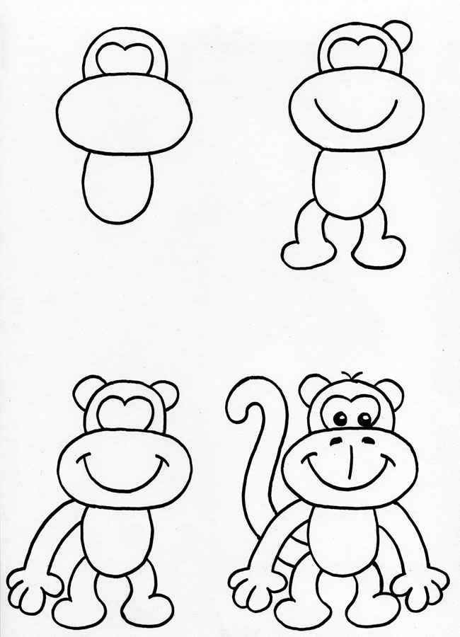 learn how to draw a cute monkey
