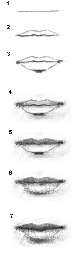 learn how to draw lips with graphite