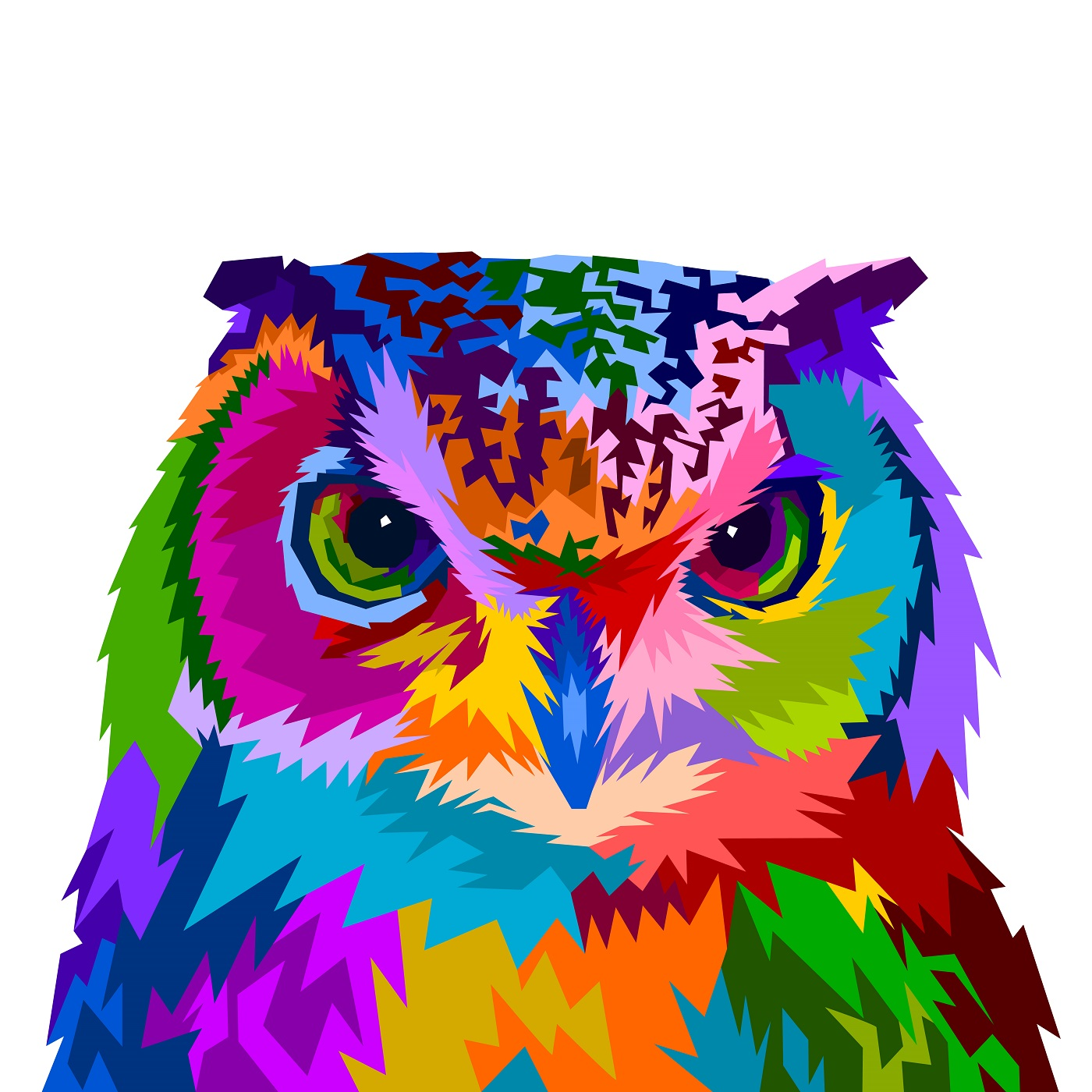 colorful owl with style pop art